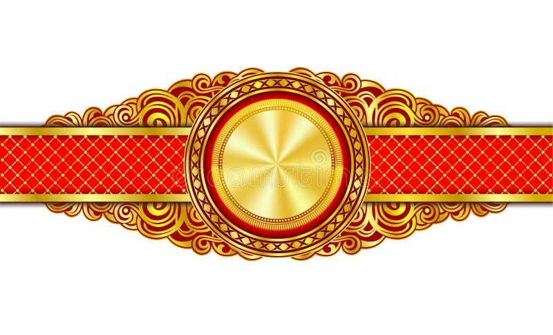与金子的葡萄酒装饰横幅在中心镀了圈子 皇族释放例证