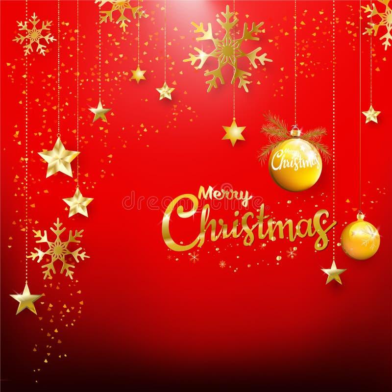 与金子闪烁五彩纸屑装饰品fo的红色圣诞节背景 向量例证