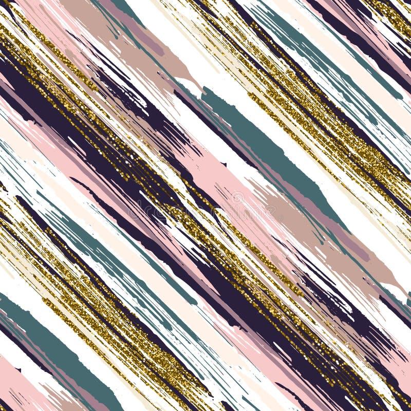 与金子闪烁的传染媒介无缝的样式构造了刷子冲程和条纹 向量例证