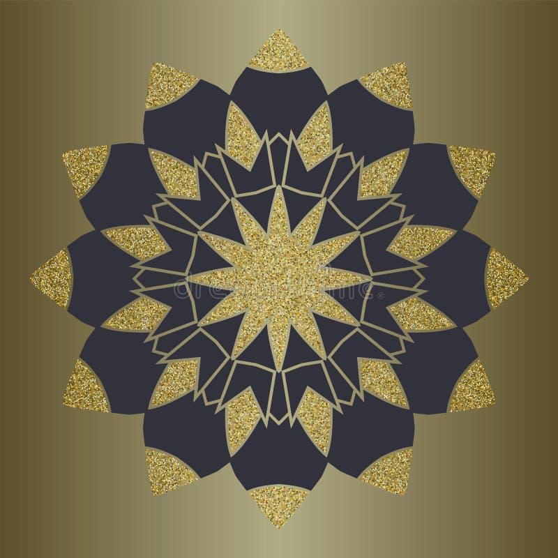 与金子闪烁的豪华坛场在种族样式 与葡萄酒装饰品的装饰背景 向量例证