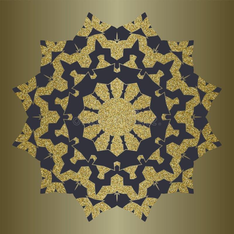 与金子闪烁的豪华坛场在种族样式 与葡萄酒装饰品的装饰背景 库存例证