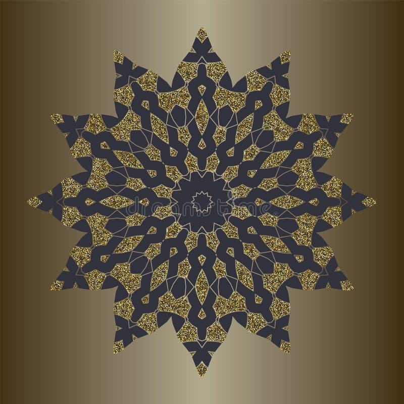 与金子闪烁的豪华坛场在种族样式 与葡萄酒装饰品的装饰背景 皇族释放例证