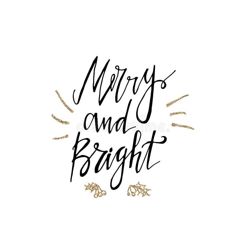 与金子闪烁纹理的快活和明亮的书法词组 现代字法 invitation new year 使用为贺卡,华伦泰 向量例证