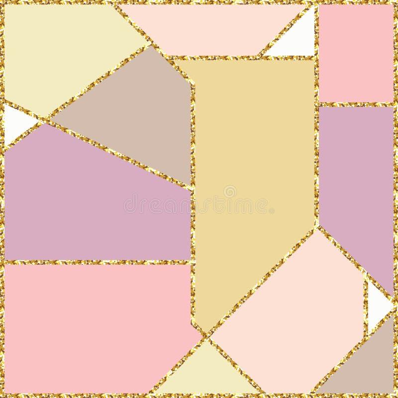 与金子闪烁纹理的抽象几何五颜六色的背景 向量例证