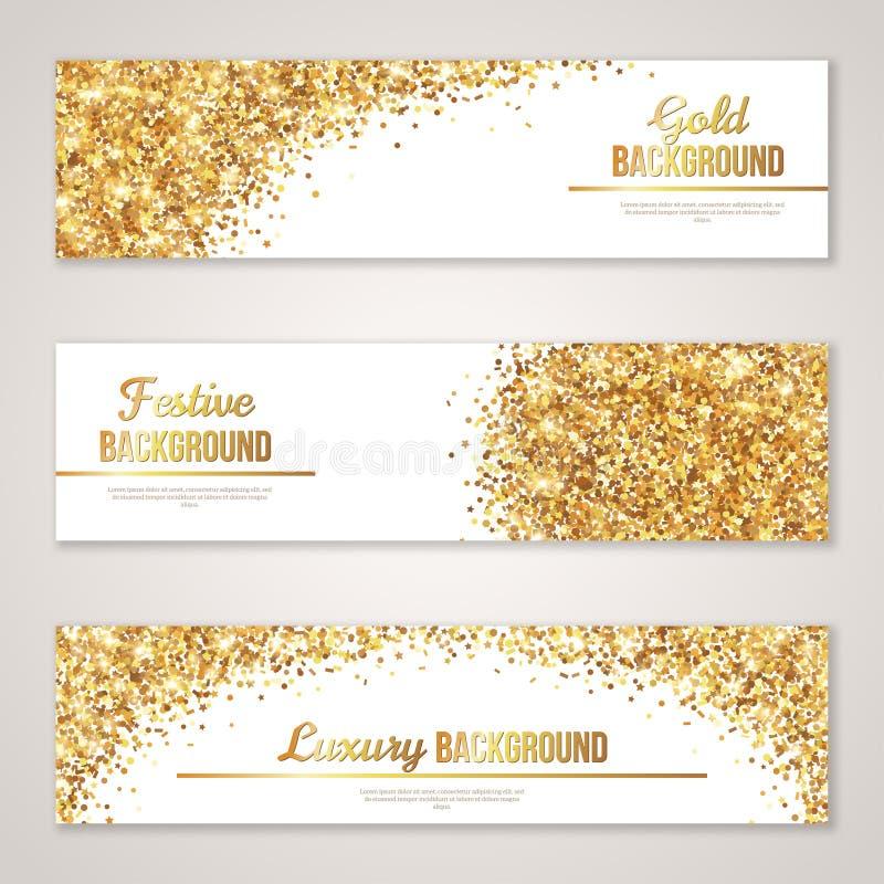 与金子闪烁纹理的横幅设计 皇族释放例证