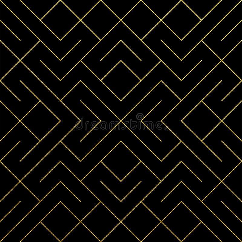 与金子闪烁纹理的金黄抽象几何样式背景 导航无缝的样式或菱形和金属线结我 皇族释放例证