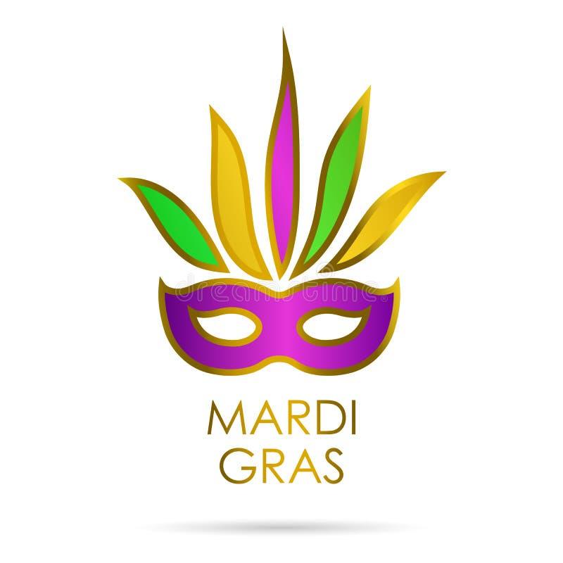 与金子,绿色和紫罗兰色颜色的狂欢节面具与在狂欢节上写字 背景查出的白色 库存例证
