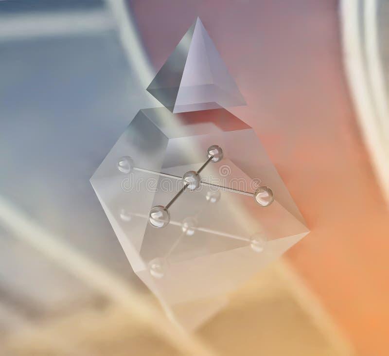 与金字塔和球形的几何结构 向量例证