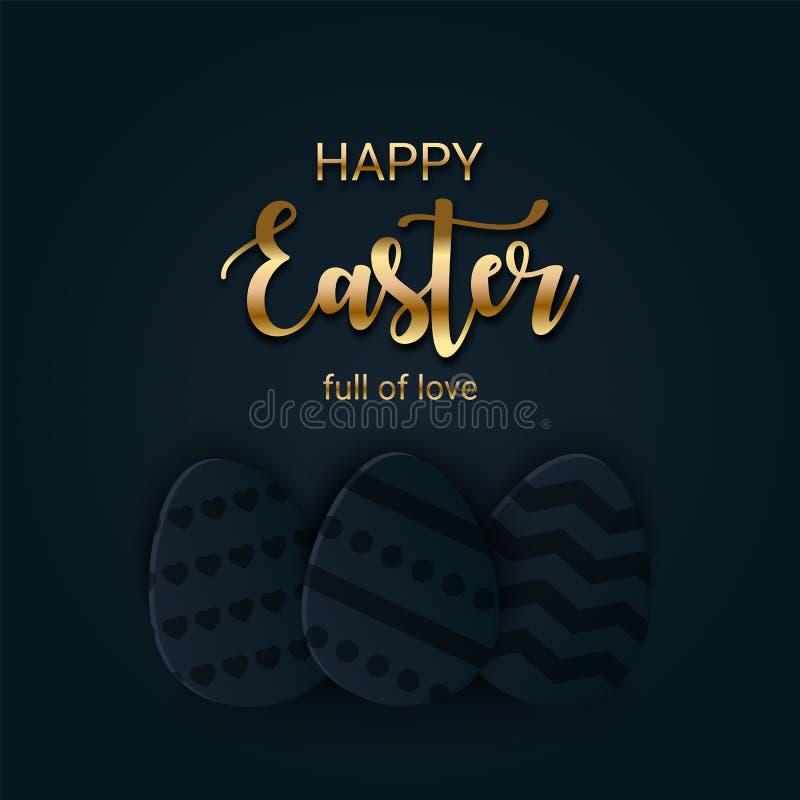 与金字法的愉快的复活节问候横幅 纸裁减层状鸡蛋寻找 时尚的,购物假日标志 向量例证