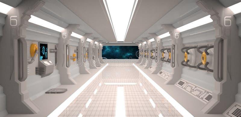 与金属地板和光盘区的未来派设计太空飞船内部 库存照片
