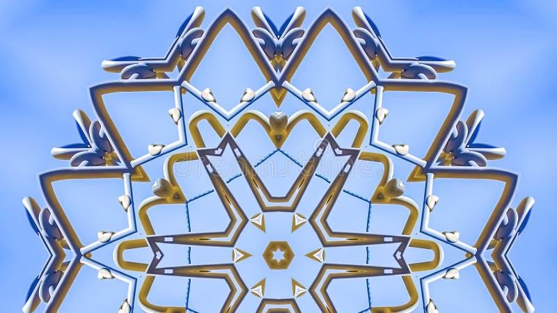 与金属射线的全景框架复杂设计样式在星 免版税图库摄影