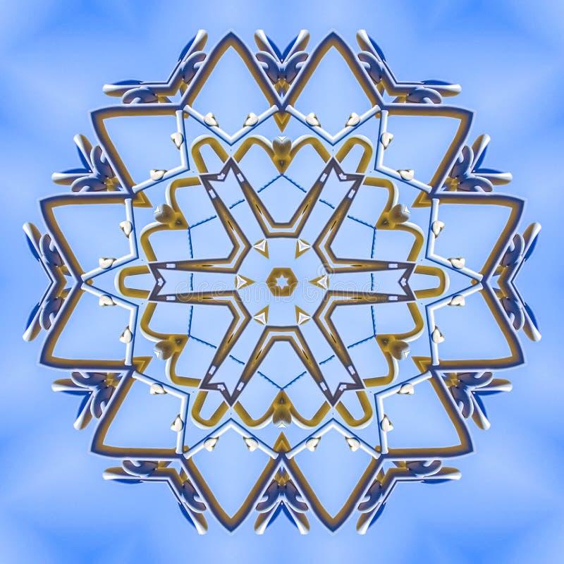 与金属射线的复杂设计样式在星 向量例证