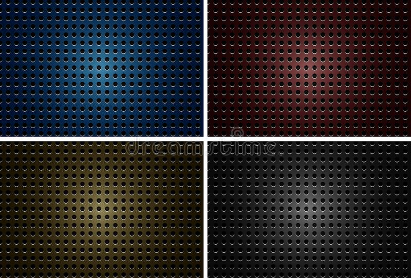与金属板材的背景设计有在四种颜色的孔的 库存例证
