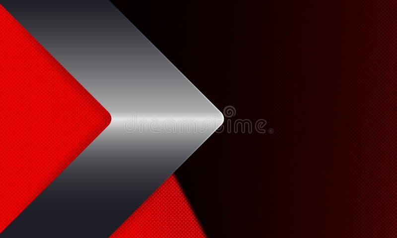 与金属树荫的箭头的几何红色,黑背景 库存例证