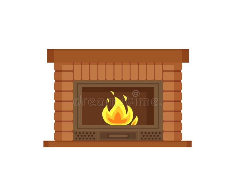 与金属框架,砖的建筑的壁炉 皇族释放例证
