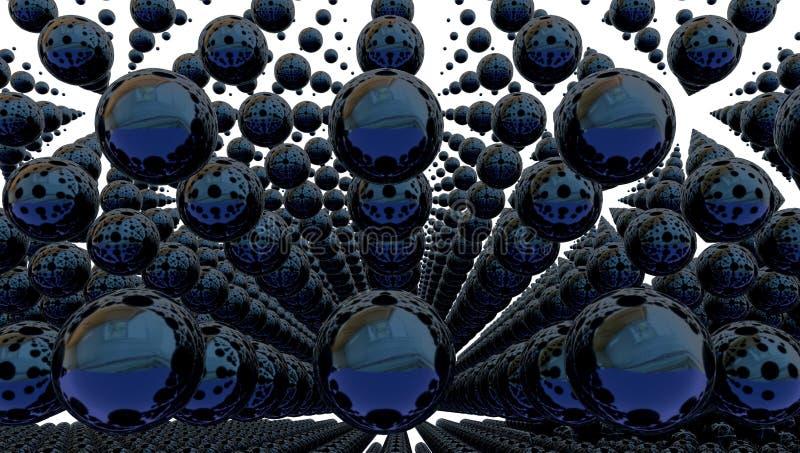 与金属球形的抽象背景, 3d例证 向量例证