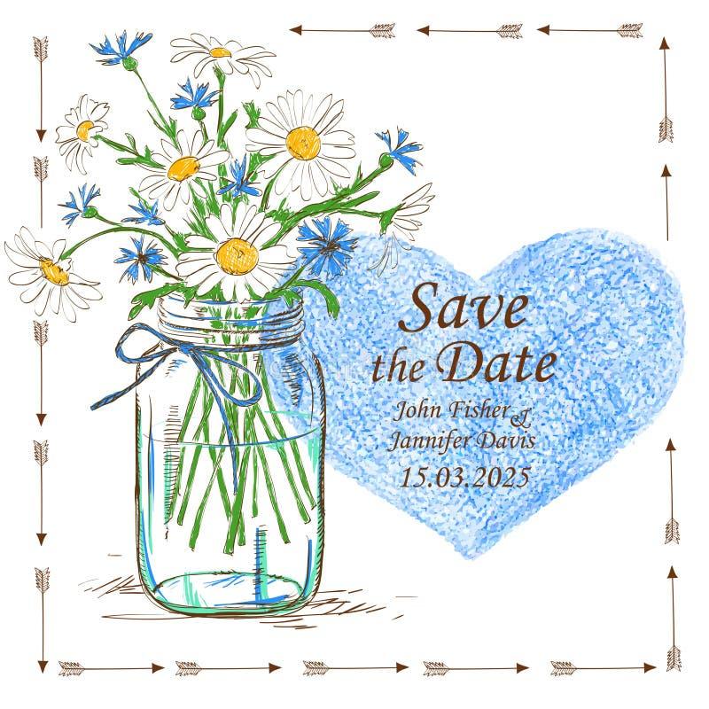 与金属螺盖玻璃瓶和春黄菊的婚礼邀请开花 皇族释放例证