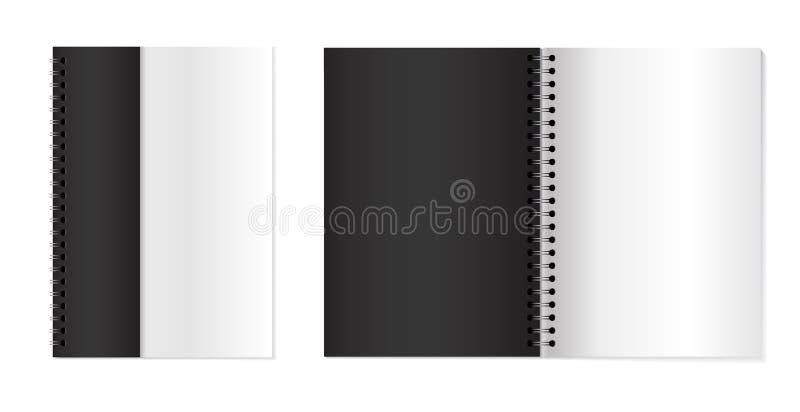 与金属银色螺旋的习字簿 设置传染媒介3d打开了笔记本 笔记本为您的设计嘲笑  向量例证