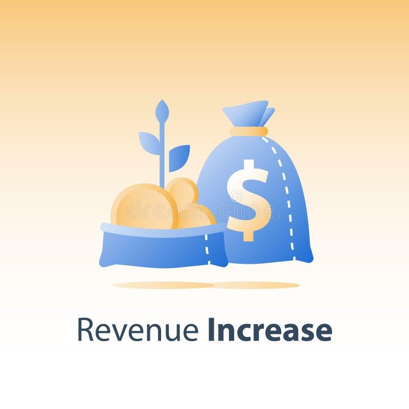 与金币的开放袋子和植物词根,快速的财务成长,收支增量,挣更多钱,投资资金,财富管理 皇族释放例证