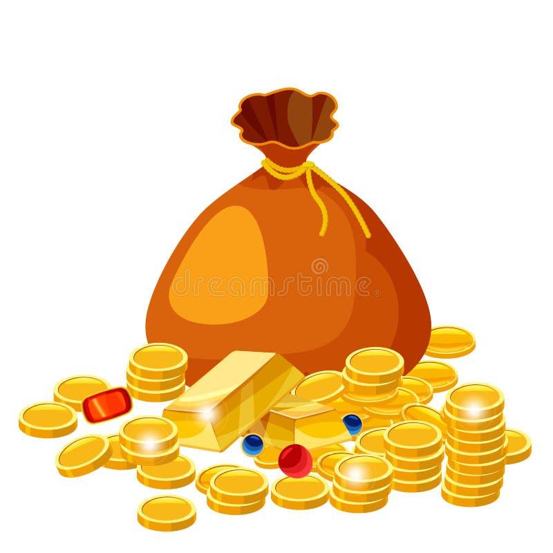 与金币首饰的动画片大前妻 现金得奖的传染媒介概念 请求与金黄硬币,金钱的例证, isolared在w 皇族释放例证
