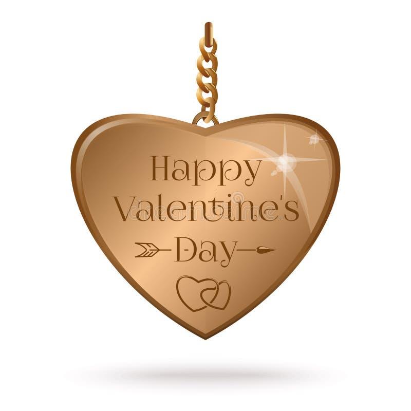 与金心脏的情人节设计在链子 皇族释放例证