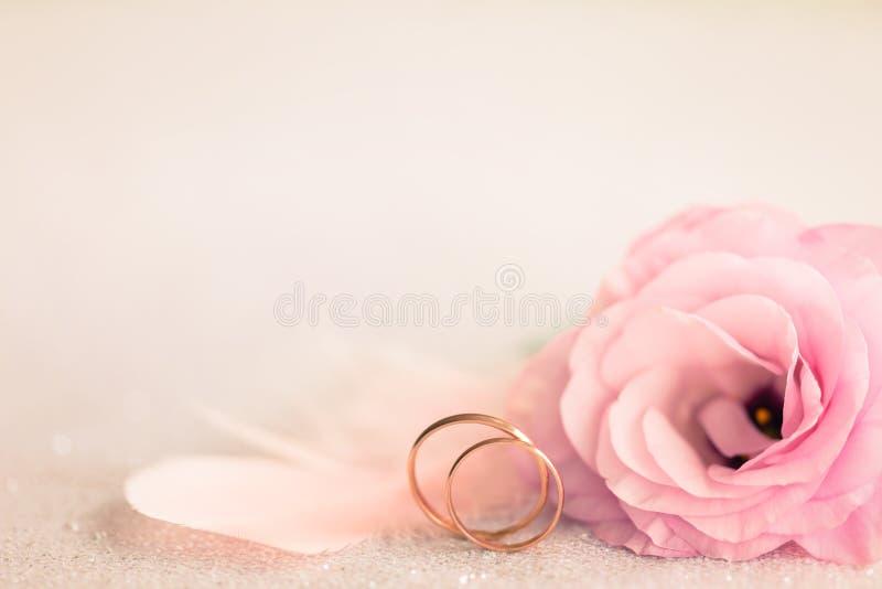 与金戒指、柔和的花和光别针的婚礼背景 免版税库存图片
