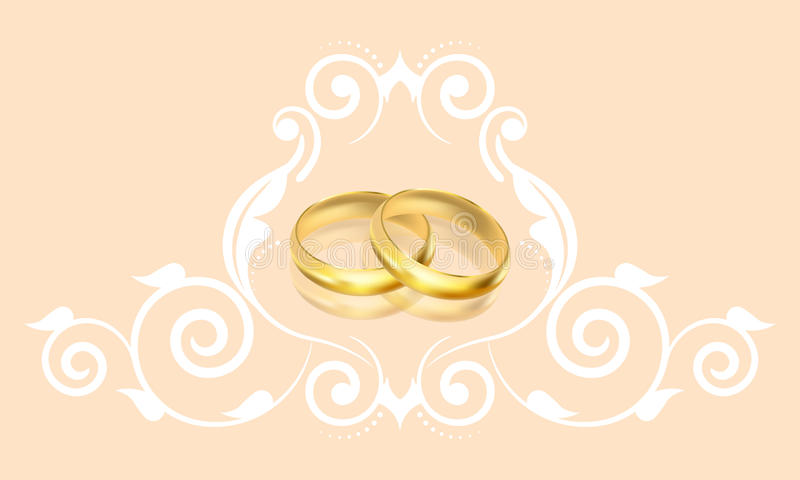 与金戒指和花卉装饰的婚礼邀请 库存例证
