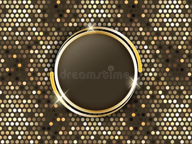 与金戒指的抽象马赛克背景在中部 向量例证