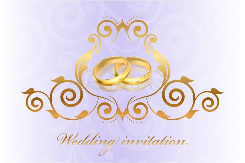 与金戒指的紫色婚礼邀请 库存例证