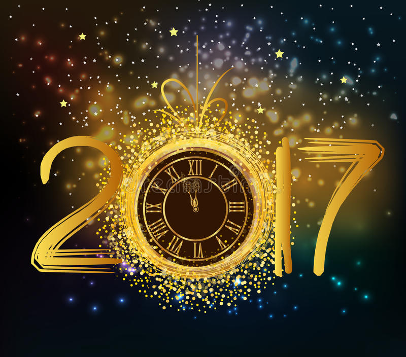 2017年与金时钟的新年快乐背景 库存例证