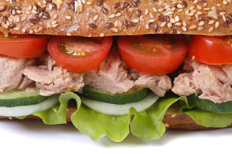 与金枪鱼和菜宏指令的三明治被隔绝的 库存图片