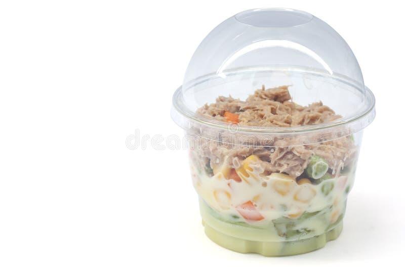 与金枪鱼的沙拉菜在塑料盒 库存照片