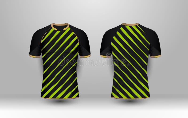 与金样式体育橄榄球成套工具的黑和绿色条纹,球衣, T恤杉设计模板 库存例证