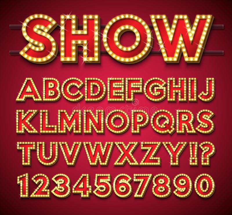 与金框架和阴影的电灯泡字母表在红色backgrond 与发光明亮的发光的减速火箭的向量字体收藏 库存例证
