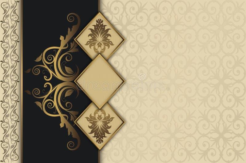 与金框架的装饰葡萄酒背景 库存例证