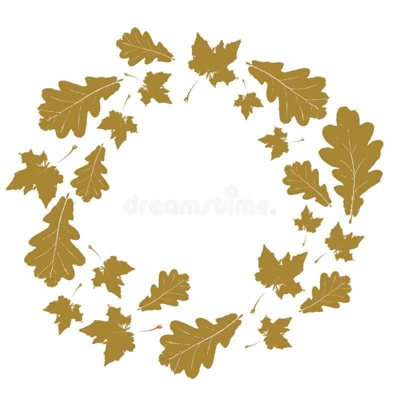 与金槭树和橡木叶子的花卉圆的秋天框架隔绝了 向量例证