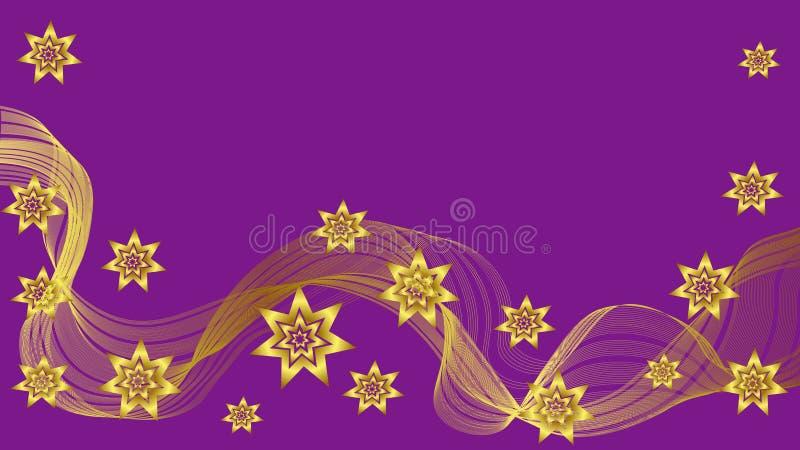与金波浪和星的美好的紫色背景 向量例证