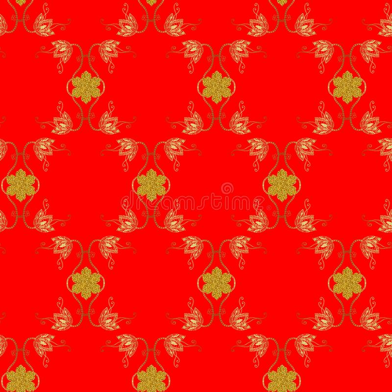 与金花和雪花的无缝的装饰样式在红色背景 库存例证
