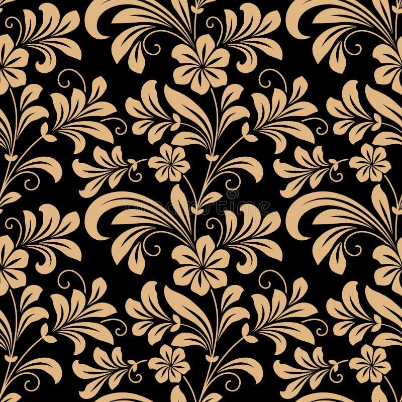 与金花的花卉无缝的样式 皇族释放例证