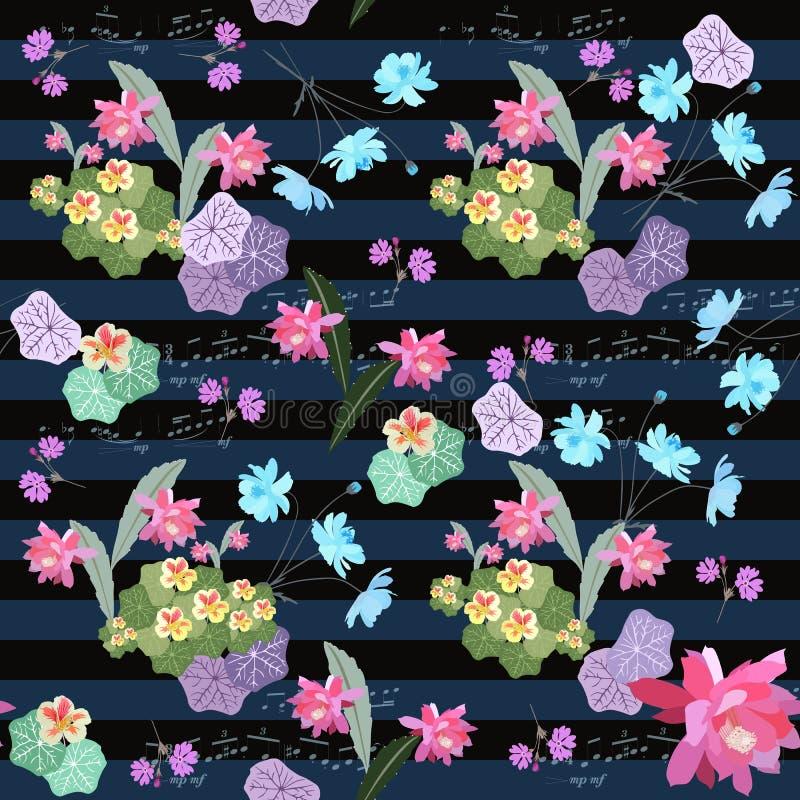与金莲花、波斯菊、报春花、仙人掌花和音符的无缝的花卉ditsy样式关于黑暗的镶边背景 皇族释放例证