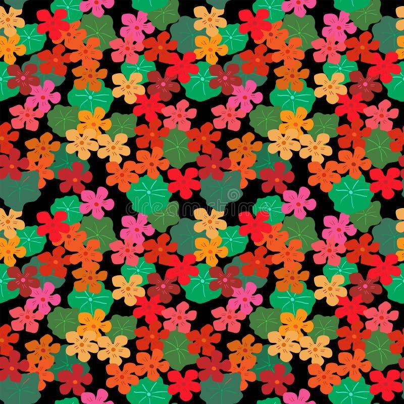 与金莲花和叶子的抽象花卉无缝的背景 皇族释放例证