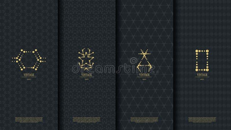 与金葡萄酒商标的伊斯兰教的样式概念模板在黑暗 库存例证