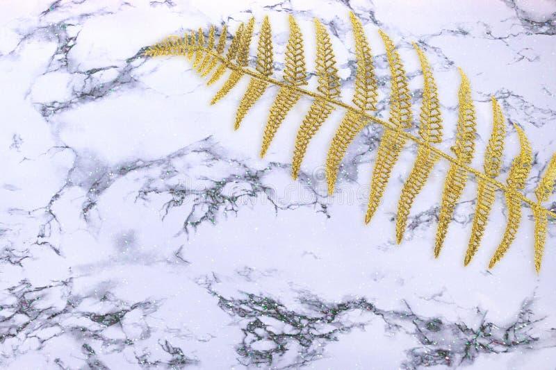 与金蕨叶子,在白色大理石背景设计样式艺术品的,现代概念的棕榈的抽象纹理的自然 库存照片