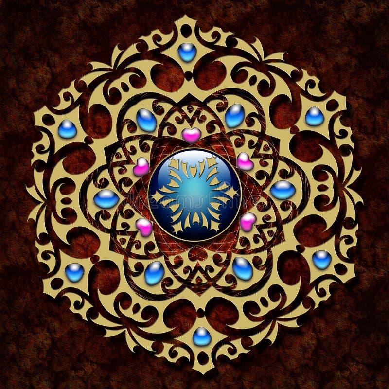 与金装饰品的抽象背景 向量例证