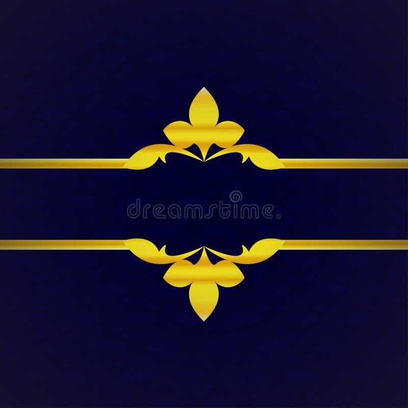 与金装饰品的深蓝豪华背景从瓣葡萄酒 免版税库存图片