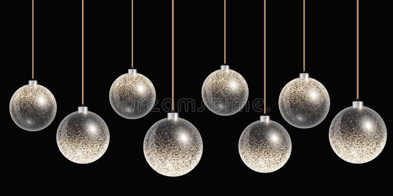 与金装饰的垂悬的圣诞节球在背景 向量例证