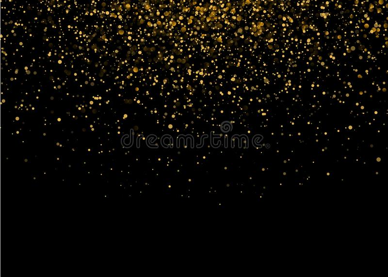 与金豪华闪闪发光的发光的星爆炸光 不可思议的金黄光线影响 在黑背景的传染媒介例证 皇族释放例证