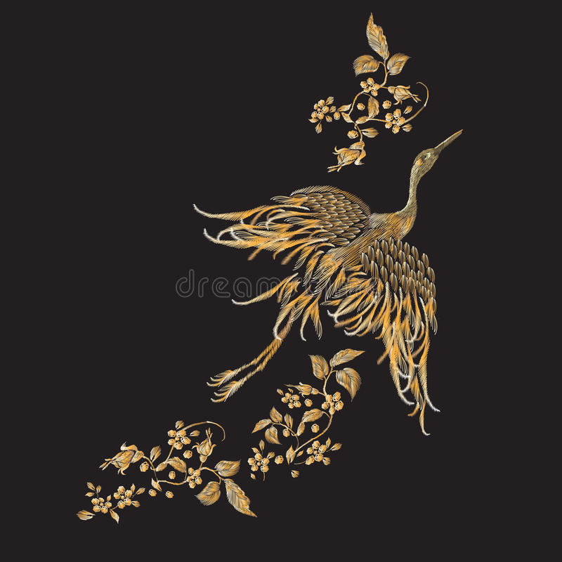 与金起重机的刺绣花卉样式 库存例证
