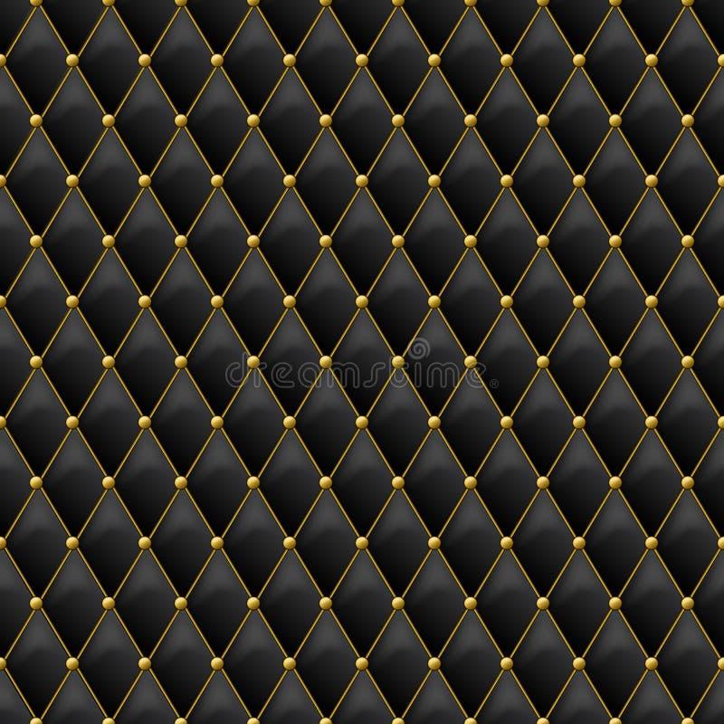 与金金属细节的无缝的黑皮革纹理 与金钮扣的传染媒介皮革背景 皇族释放例证