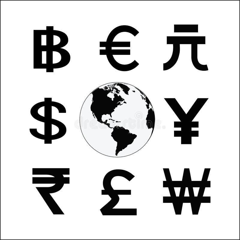 与金钱周期标志的地球 各种各样的货币符 班卓琵琶 向量例证